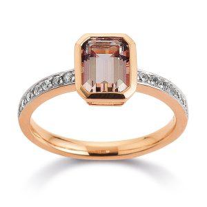 Mestergull Flott ring i rosèforgylt sølv med fersken topas og cubic zirkonia VIVENTY Ring