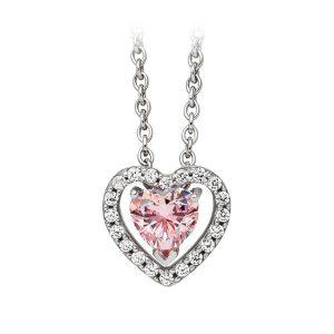 Mestergull Lekkert anheng i rhodinert sølv med rosa og hvite cubic zirkonia VIVENTY Anheng