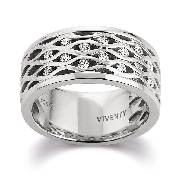 Mestergull Flott floral ring i rhodinert sølv med cubic zirkonia VIVENTY Ring