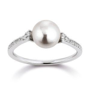 Mestergull Vakker ring i rhodinert sølv med ferskvannsperle og cubic zirkonia VIVENTY Ring