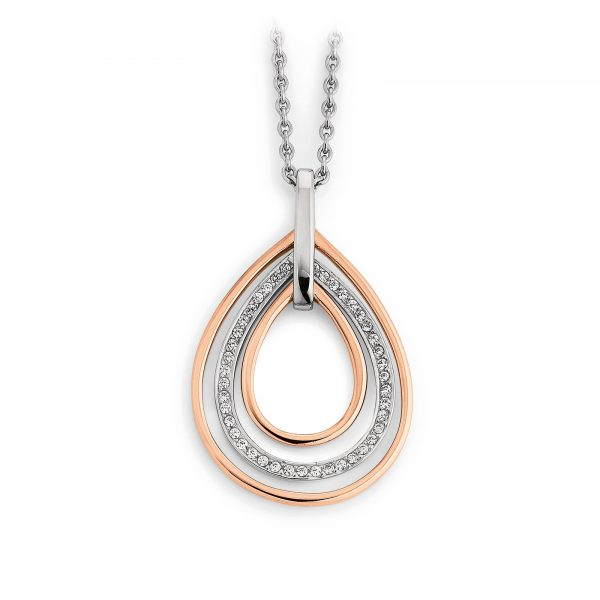 Mestergull Stilfullt anheng i rhodinert og rosèforgylt sølv med cubic zirkonia VIVENTY Anheng