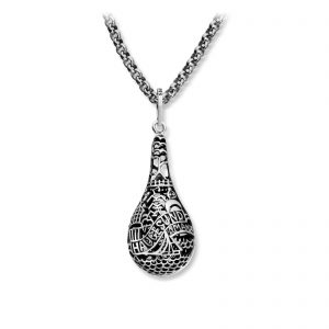 Mestergull Røft sølvsmykke med motiv fra Haugesund. Leveres med stålkjede LOKAL BUNAD Anheng