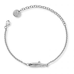 Mestergull Tøff armlenke i sølv med sild. Øyet består av en sort diamant LOKAL BUNAD Armbånd