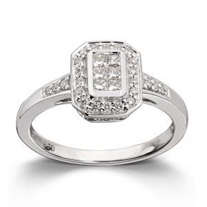 Mestergull Vakker ring i hvitt gull med diamanter prinsesseslipte og brillianter MG DIAMONDS Ring