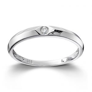 Mestergull Enkel ring i hvitt gull med diamanter MG DIAMONDS Ring
