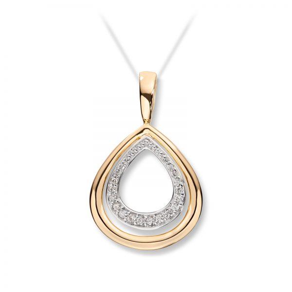 Mestergull Lekkert anheng i gult og hvitt gull med diamanter MG DIAMONDS Anheng