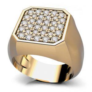 Mestergull Signetring med diamanter utviklet for kunde. Ringen er i størrelse 43 og fattet med 32 diamanter. Totalt 0,32 ct. HSI DESIGN STUDIO Spesialdesign Ring