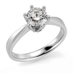 Mestergull Spesialdesignet ring med diamant på 1,00 ct. som sentersten og 1 diamant innvendig fattet i 6 hjerter fra hovedfatningen. Ringen er utført i hvitt gull 585. Total diamantvekt 1,02 ct. GSI DESIGN STUDIO Solitaire Ring