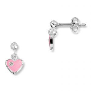 Mestergull Søt ørepynt i sølv med rosa lakk og cubic zirkonia MG BASIC Ørepynt