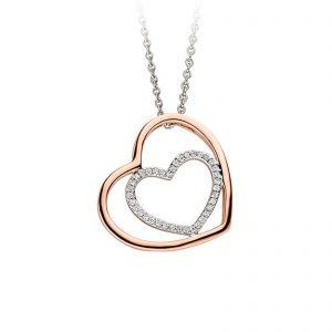Mestergull Lekkert hjerteanheng i rhodinert og rosèforgylt sølv med cubic zirkonia VIVENTY Anheng