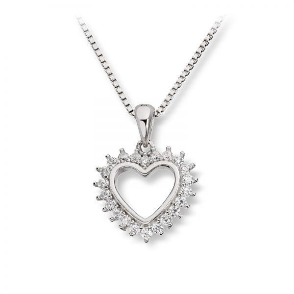 Mestergull Lekkert hjerteanheng i rhodinert sølv med cubic zirkonia GID Anheng