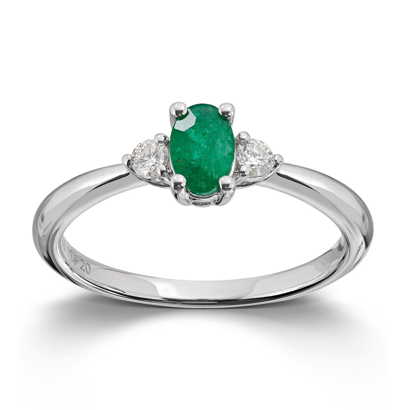 Mestergull Lekker ring i hvitt gull med smaragd og diamanter MG DIAMONDS Ring