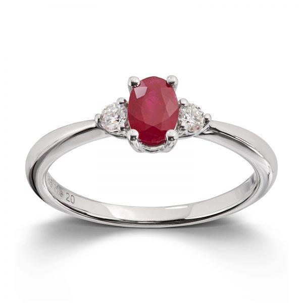 Mestergull Lekker ring i hvitt gull med rubin og diamanter MG DIAMONDS Ring
