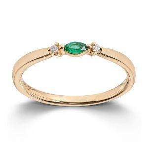 Mestergull Vakker ring i gult gull med smaragd og diamanter MG DIAMONDS Ring