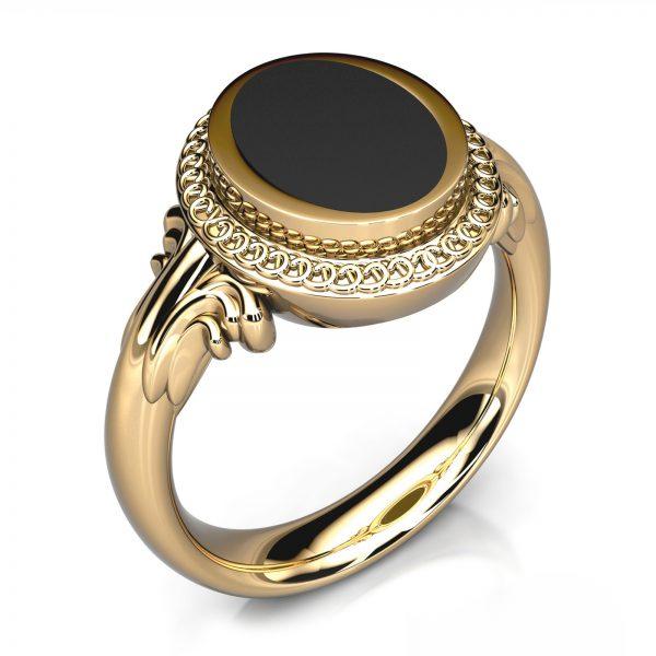 Mestergull Herrering i gult gull 585 laget for gjenbruk av sten fra kundens gamle ring. Ringen er utført kraftig og avrundet for god komfort. DESIGN STUDIO Spesialdesign Ring