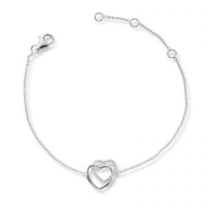 Mestergull Delikat armbånd i rhodinert sølv med hjerter og cubic zirkonia GID Armbånd
