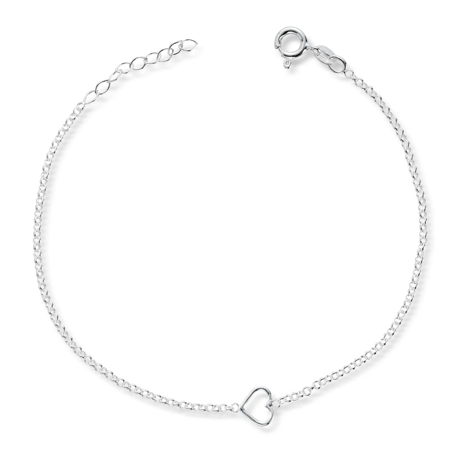 Mestergull Delikat sølv ankellenke med hjerte MESTERGULL Ankellenke