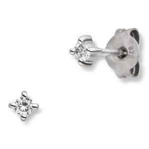 Mestergull Klassisk ørepynt i rhodinert sølv med cubic zirkonia VIVENTY Ørepynt