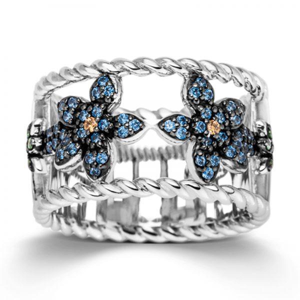 Mestergull Lekker ring i rhodinert sølv med blå, grønne og gule cubic zirkonia VIVENTY Ring