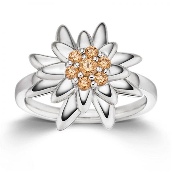 Mestergull Flott ring i rhodinert sølv med gule cubic zirkonia VIVENTY Ring