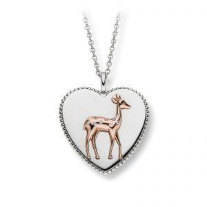 Mestergull Flott hjerteanheng i rhodinert sølv med rosè forgylt rådyr VIVENTY Anheng