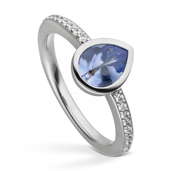 Mestergull Lekker ring i rhodinert sølv med lys blå cibic zirkonia VIVENTY Ring