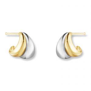 Mestergull Curve organiske og skulpturell ørepynt i 18kt. gult gull og sølv - small GEORG JENSEN Curve Ørepynt
