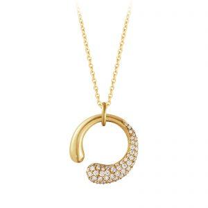 Mestergull Mercy organisk anheng i gult gull med diamanter - small GEORG JENSEN Mercy Anheng