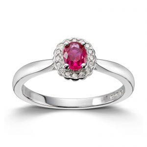 Mestergull Klassisk ring i rhodinert sølv med rød og hvit cubic zirkonia GID Ring
