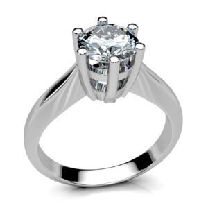 Mestergull Ring i hvitt gull spesialdesignet for å matche ørepynt med tilsvarende fatning. Ringen er utført i hvitt gul 585 og fattet med en brilliantslips diamant, 1,00 ct. HSI1 DESIGN STUDIO Solitaire Ring