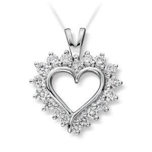 Mestergull Vakkert diamanthjerte i hvitt gull, Mestergull-hjertet er et av våre signatursmykke MG DIAMONDS Anheng
