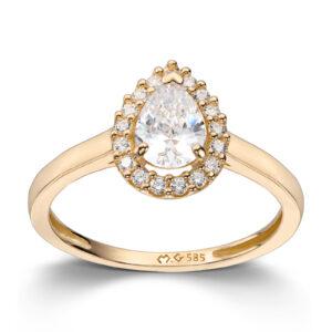 Mestergull Lekker ring i gult gull med cubic zirkonia MESTERGULL Ring