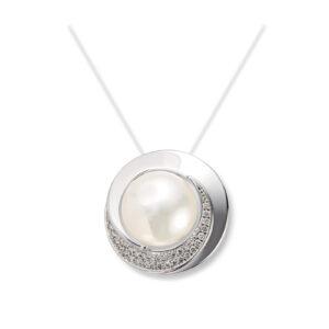 Mestergull Lekker anheng i hvitt gull med ferskvannsperle og diamanter MG DIAMONDS Anheng