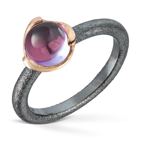 Mestergull Ring i oksidert sølv med gult gull og Amethyst VAN BERGEN Blome Ring