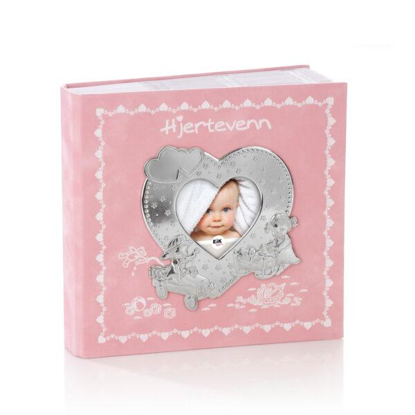Mestergull Hjertevenn fotoalbum i tinn og rosa velur med plastlommer til bilder inntil 10 x 15 cm. HJERTEVENN Ramme