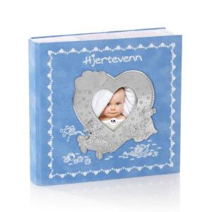 Mestergull Hjertevenn fotoalbum i tinn og blå velur med plastlommer til bilder inntil 10 x 15 cm. HJERTEVENN Ramme