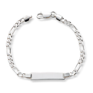 Mestergull Tøft ID-Armbånd i sølv figaro diamant slipt 19 cm MESTERGULL Figaro Armbånd