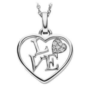 Mestergull Flott anheng i rhodinert sølv med cubic zirkonia med tekst LOVE VIVENTY Anheng