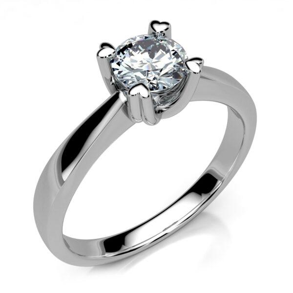 Mestergull Solitaire med hjerteklør utviklet til kundens diamant på 5,15 mm. Ringen er utført i hvitt gull 585 DESIGN STUDIO Solitaire Ring