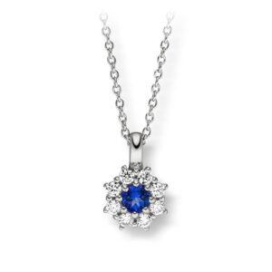 Mestergull Elegant anheng i rhodinert sølv med cubic zirkonia og syntetisk topas farge royal blue VIVENTY Anheng