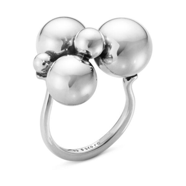 Mestergull Moonlight Grapes ring i oksikert sølv GEORG JENSEN Grape Ring