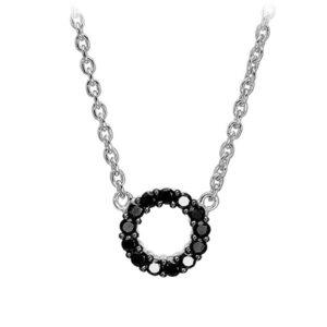 Mestergull Kjede i sølv 925S rhodinert, med blankpolert overflate og fasettslepne sorte Zirkonia. SIF JACOBS JEWELLERY Biella Kjede