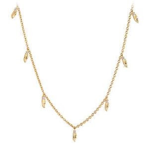 Mestergull Anheng i sølv 925S forgylt med 18K gull, med blankpolert overflate og fasettslepne klare Zirkonia. SIF JACOBS JEWELLERY Vulcanello Kjede
