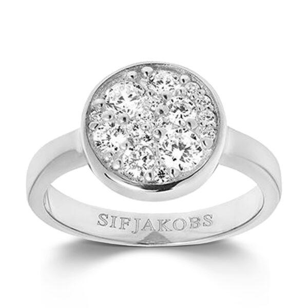 Mestergull Ring i sølv 925S rhodinert, med blankpolert overflate og fasettslepne klare Zirkonia. SIF JACOBS JEWELLERY Novara Ring