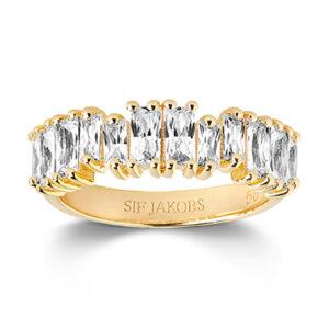 Mestergull Ring i sølv 925s forgylt med 18K gull med blankpolert overflate og Baguette Zirkonia. SIF JACOBS JEWELLERY Antella Ring