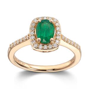 Mestergull Lekker ring i gult gull med smaragd og diamanter MG DIAMONDS Ring