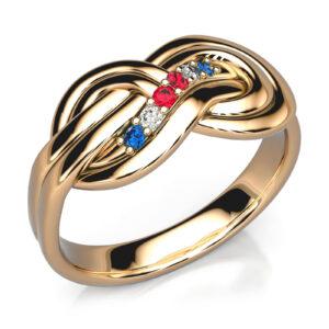 Mestergull Spesialdesignet ring med inspirasjon fra en sikkerhetsknute. Ringen er utført i gult gull og fattet med rubiner, safirer og diamanter. DESIGN STUDIO Spesialdesign Ring