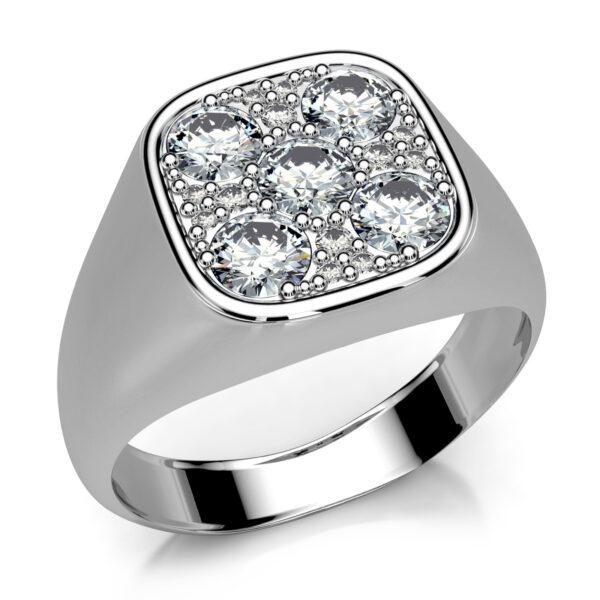 Mestergull Signetring i hvitt gull utviklet med gjenbruk av kundens diamanter DESIGN STUDIO Spesialdesign Ring