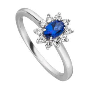 Mestergull Klassisk ring i rhodinert sølv med synt. blå topas og cubic zirkonia VIVENTY Ring