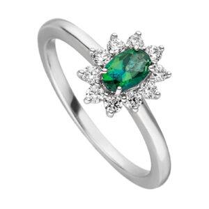 Mestergull Klassisk ring i rhodinert sølv med synt. grønn topas og cubic zirkonia VIVENTY Ring